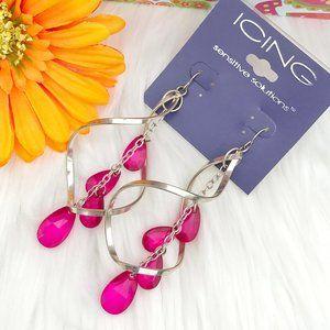 Long Boho Earrings Silvertone Pink Drop Dangles